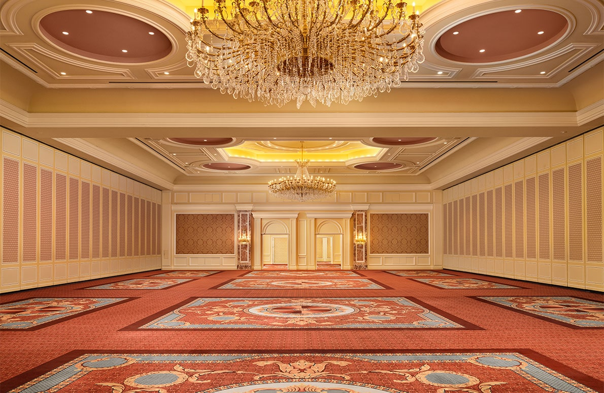 Grand Ballroom conference space with chairs and tables on the first floor of The Grand America