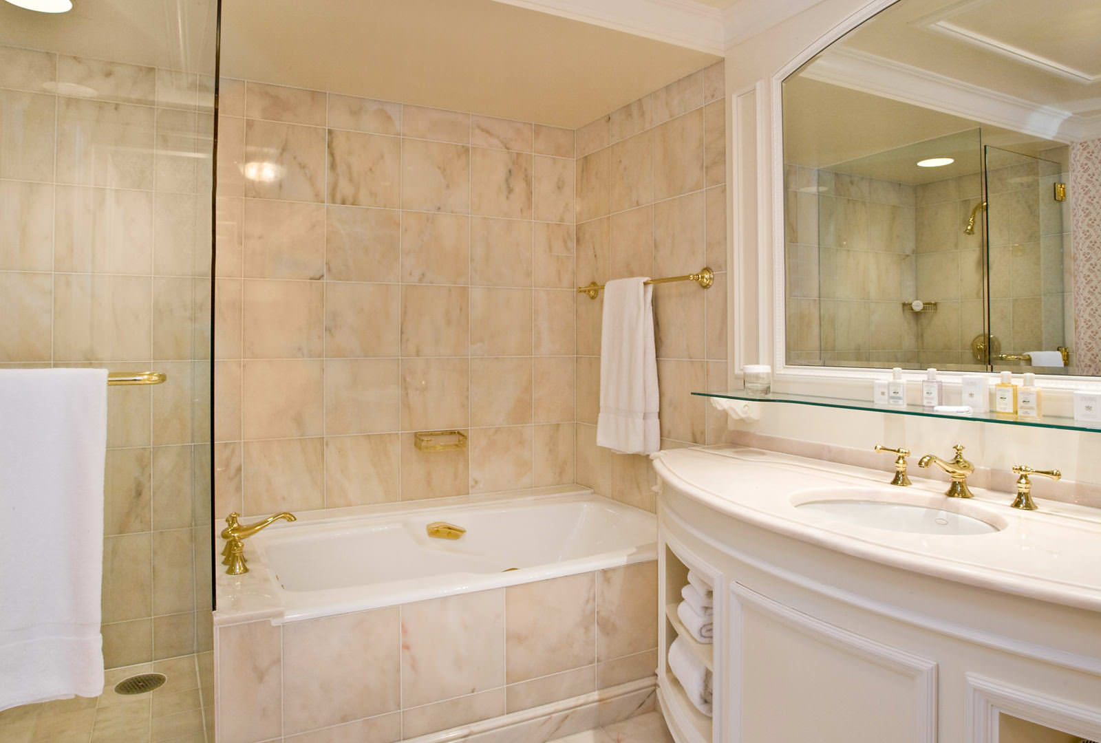Grand America Hotel Italian marble bathroom with separate shower and soaking tub