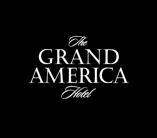 The Grand America white logo on black background.