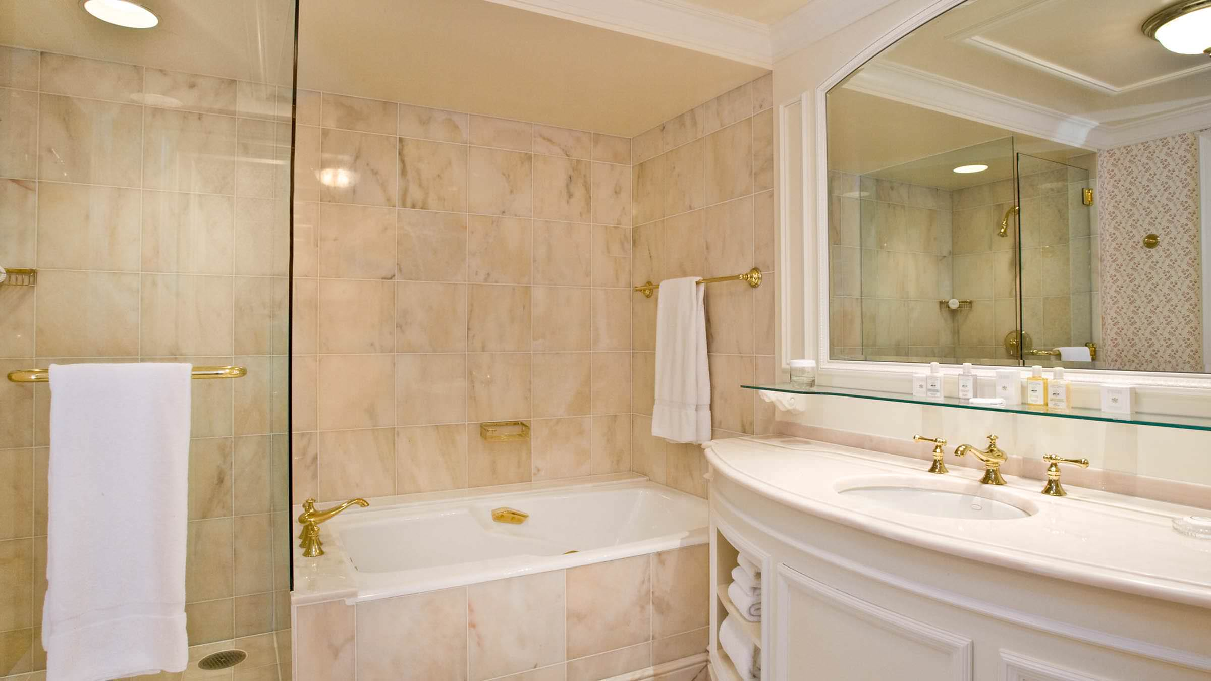 Carrara Italian Marble Guestroom Bathroom at the Grand America Hotel.