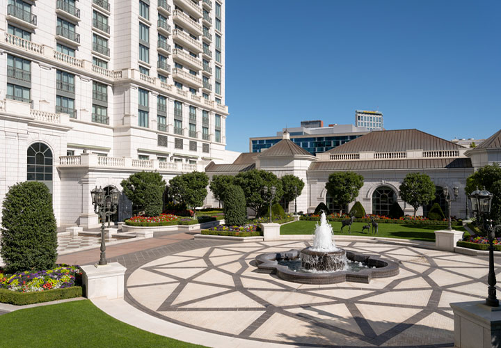 The Grand America Hotel Courtyard View with fountain and gardens