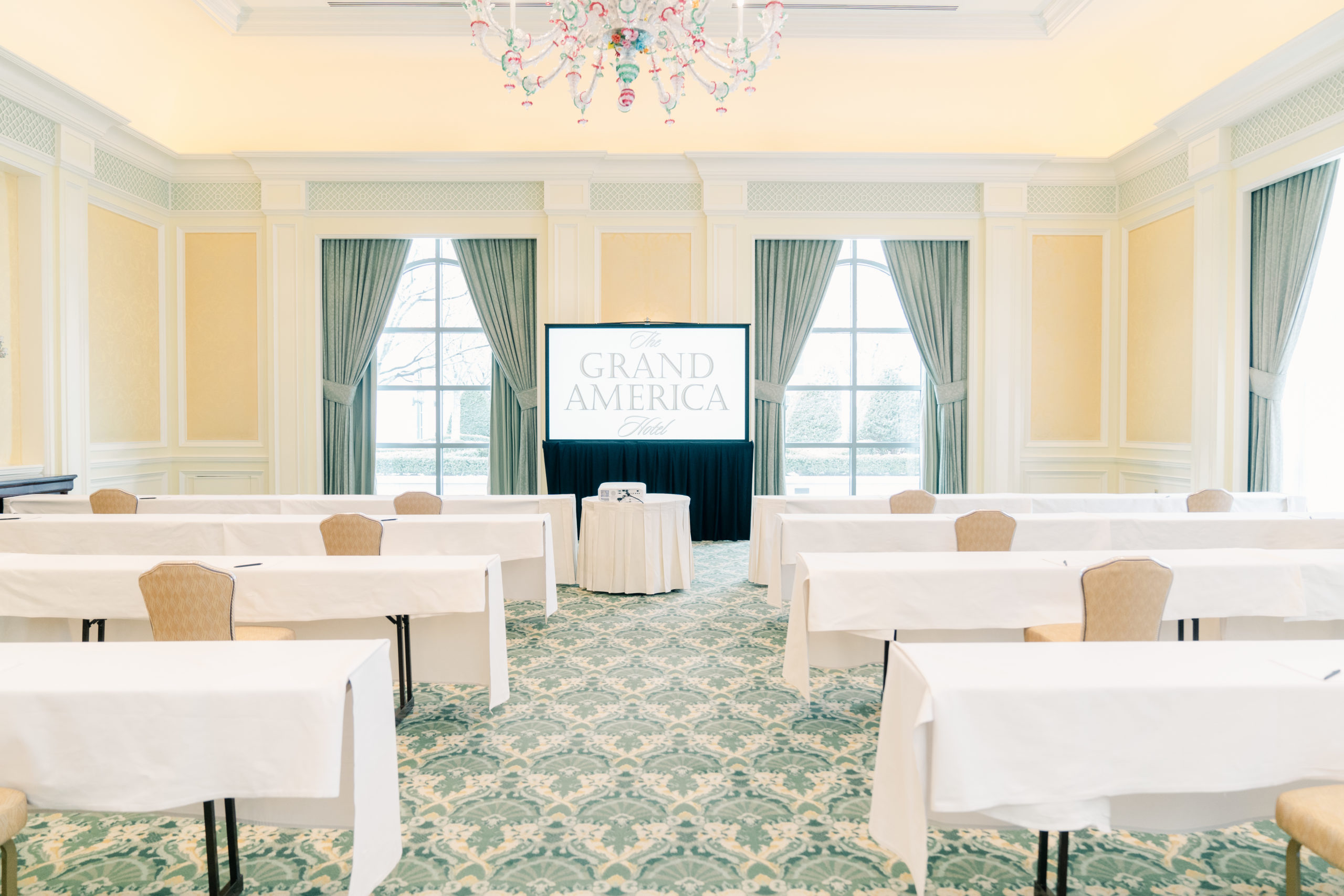 Meeting set up in Venezia Garden Salon at The Grand America Hotel.