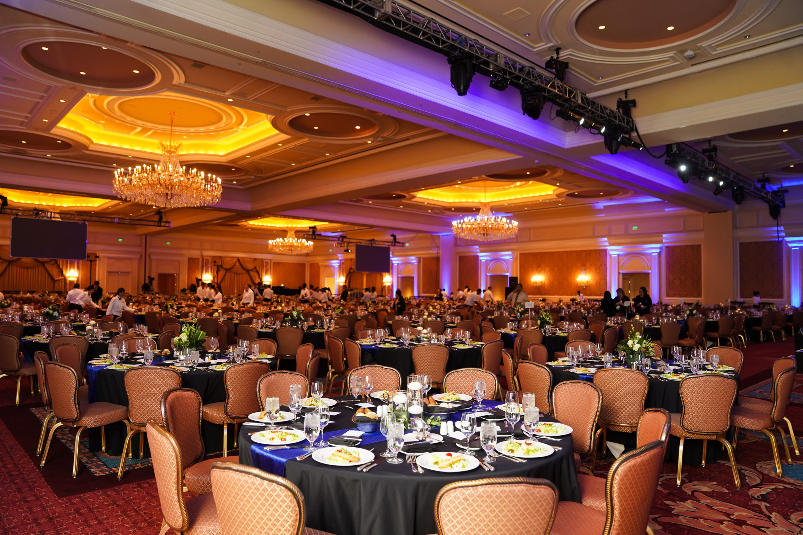 The Grand Ballroom set up for a large-scale event held at The Grand America Hotel.